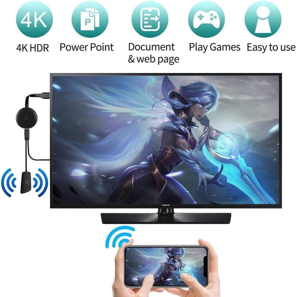 WJTRK1 Google Chromecast 3 para TV 1080P Port/átil TV Stick para Android//iOS//Windows//Mac OS A HDTV//Monitor//Proyector Ultra HD 4K Dongle WiFi Compatible con Miracast Airplay DLNA