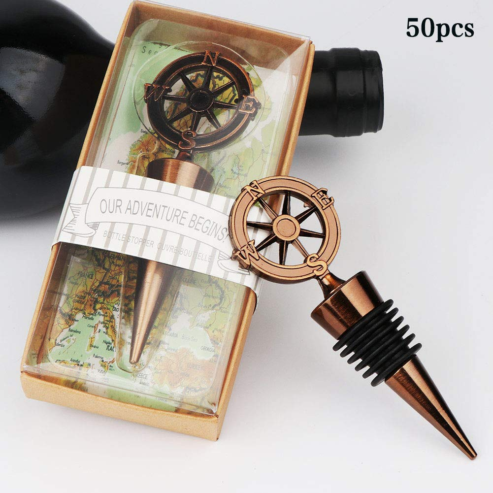Aytai 50pcs Wine Bottle Stoppers with Box Wedding Favors, Compass Bottle Stopper Souvenir Gifts for Travel Theme Baby Shower Bridal Shower Party Supplies Wedding gifts