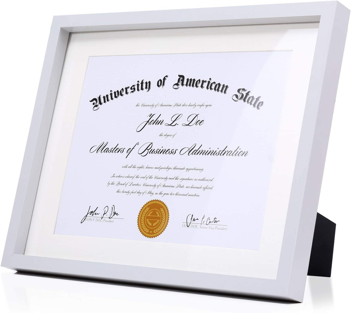 Modern Grey Diploma Frame Solid Wood 11x14 with Adhesive Wall Hooks, Nail Hooks, 2 White Mats Sized: 8.5x11 or 8x10 For Documents, Degrees, Certificate, Photo, Pictures, Certification, Tempered Glass