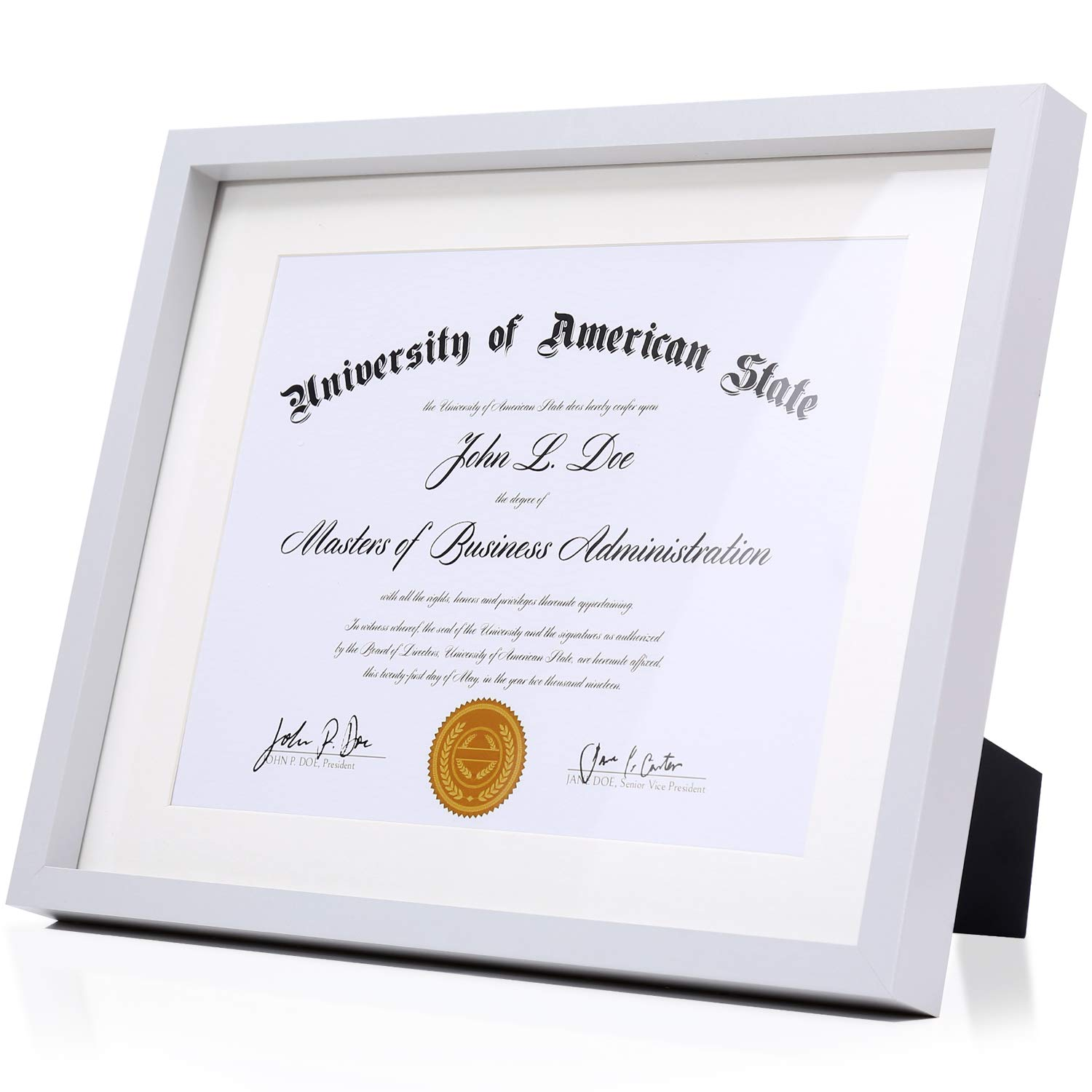 Modern Grey Diploma Frame Solid Wood 11x14 with Adhesive Wall Hooks, Nail Hooks, 2 White Mats Sized: 8.5x11 or 8x10 for Documents, Degrees, Certificate, Photo, Pictures, Certification, Tempered Glass by frames co.