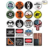 19-Pack Hard Hat, Tool Box Stickers | 100% Vinyl | Proudly MADE IN USA! Funny decals for Construction, Electrician, Union, Oilfield, Military, Fire Crew, Mechanics | Display your American Flag!