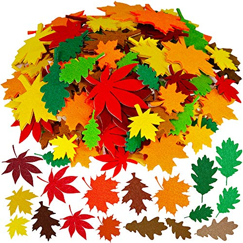 Supla Fall Maple Leaf Stickers Felt Leave Stickers Decorative Maple Oak Leaf Cutouts Embellishments for Kids Autumn Harvest Halloween Thanksgiving Craft 504 Pack 6 Fall Leave Cutouts 12 Colors