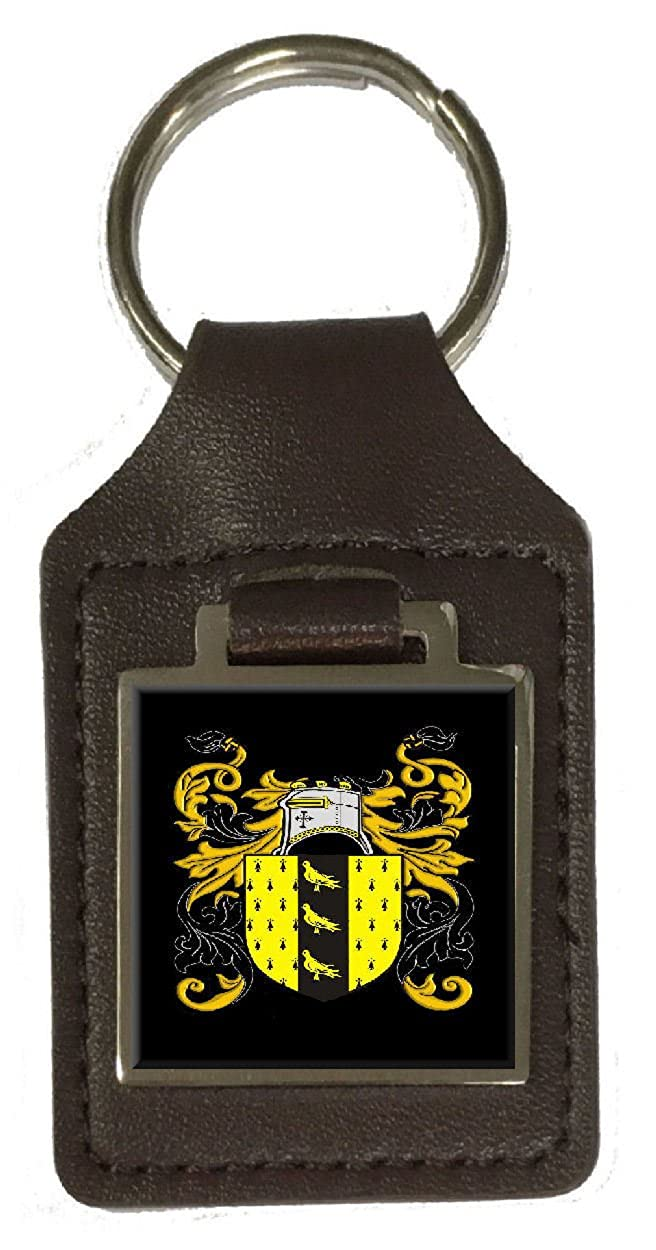 Nicholson Heraldry Surname Coat Of Arms Brown Leather Keyring Engraved