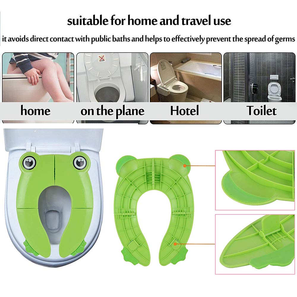 Potty Training Seat for Kids Port/átil Reutilizable Potty Training Cubierta de Asiento Mejora el Plegado de Grandes Almohadillas Antideslizantes con Bolsas de Transporte para Beb/és