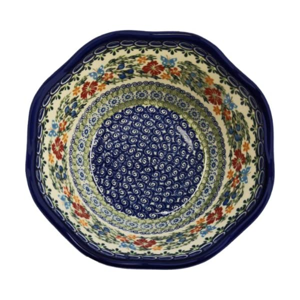 Polish Pottery Ceramika Boleslawiec Bowl Viki Cups, Royal Blue Patterns with Red Cornflower and Blue Butterflies Motif, 6-1/2-Inch