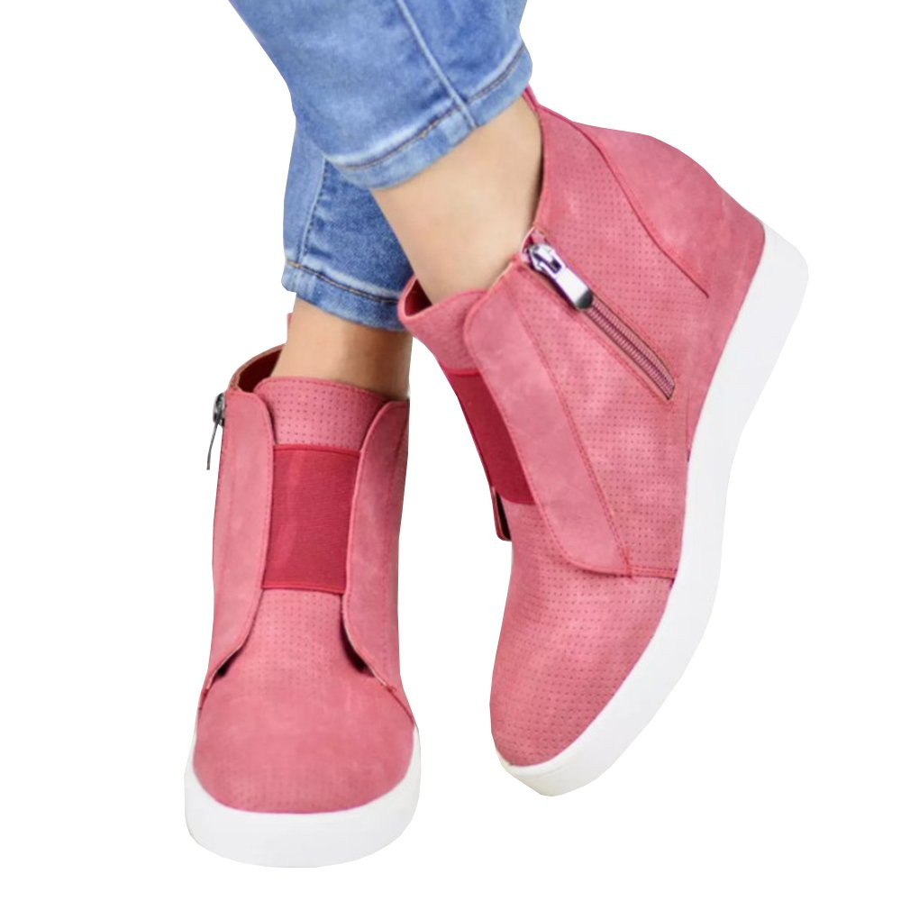 Women's Platform Sneakers Hidden Wedges Side Zipper Faux Suede Perforated Ankle Booties
