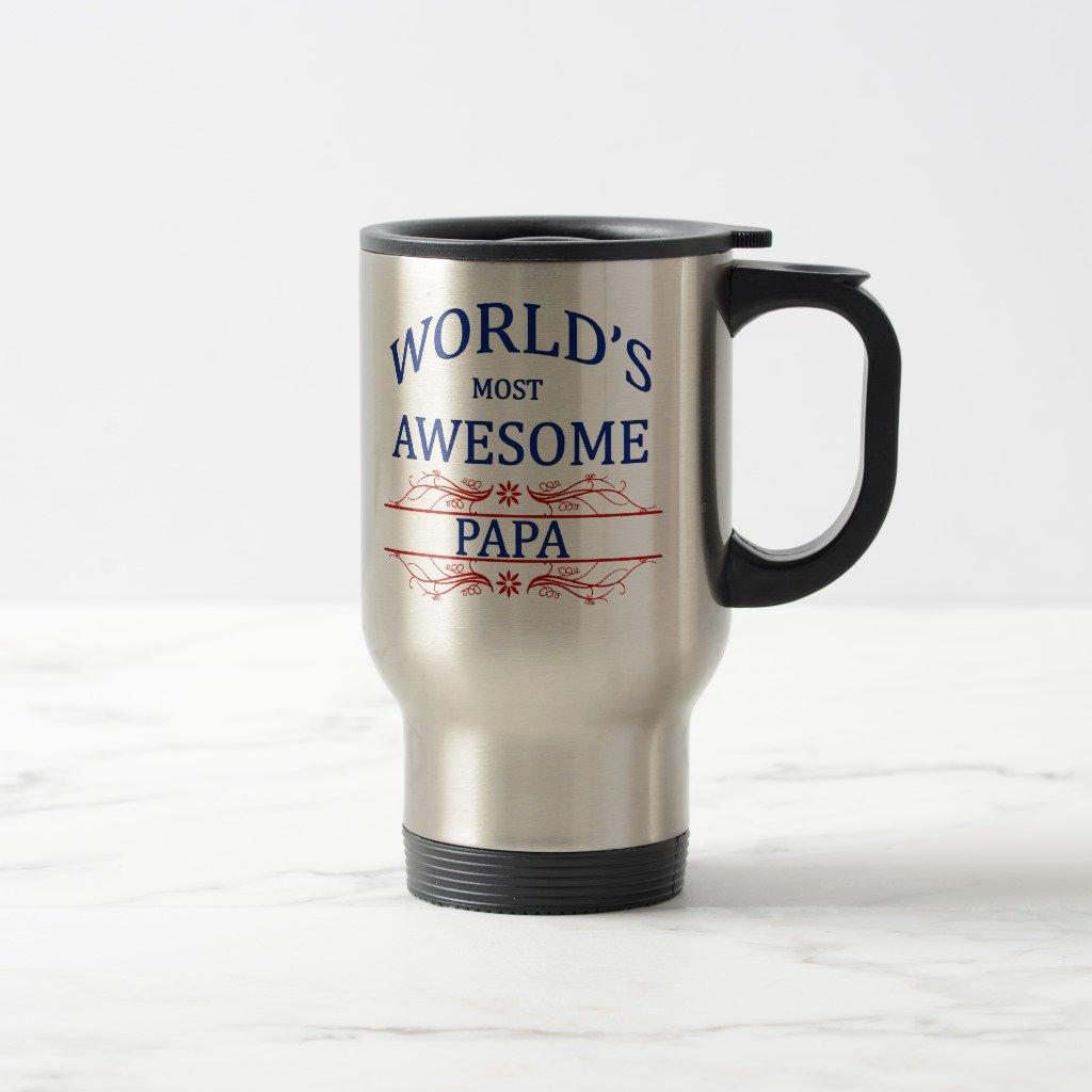Zazzle World's Most Awesome Papa Coffee Mug, Stainless Steel Travel/Commuter Mug 15 oz