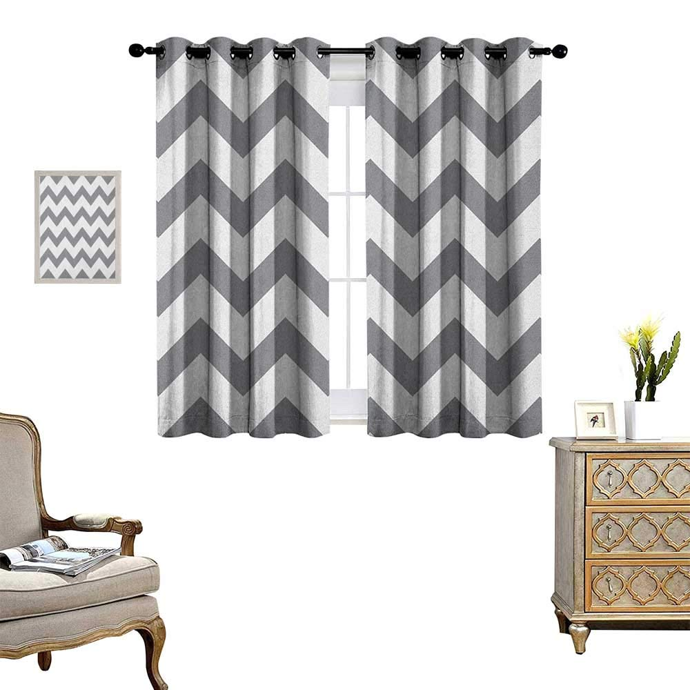 Warm Family Grey Waterproof Window Curtain Grey and White Chevron Pattern Classic Geometrical Horizontal Zig Zag Stripes Retro Blackout Draperies for Bedroom W55 x L63 Grey White