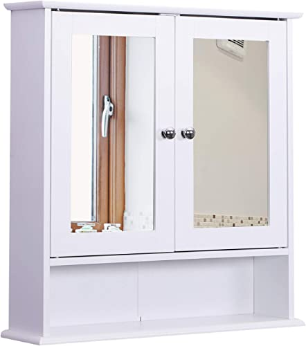 kleankin Bathroom Storage Cabinet Wall Mounted Medicine Cabinets w Double Mirror Doors Adjustable Shelf White