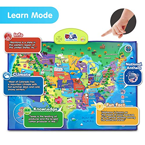 BEST LEARNING i-Poster My USA Interactive Map – Educational Talking Toy for Kids of Ages 5 to 12 Years
