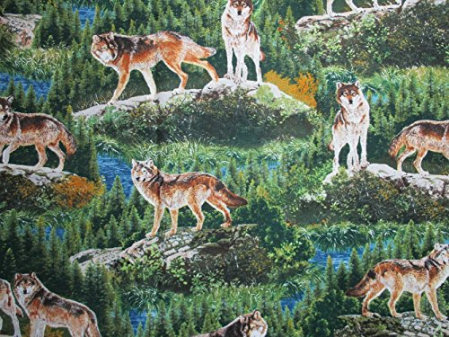 (Bringing Nature Home Wolves by Al Agnew from Robert Kaufman 100% Cotton Quilt Fabric AAX-15213-268 Nature)