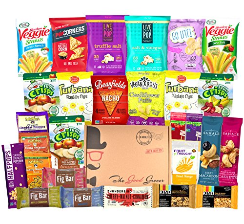 NON-GMO Healthy Snacks Care Package (28 Ct): Bars, Cookies, Chips, Crispy Fruit, Trail Mix, Gift Box, Office Assortment, Variety Pack, College Student Military Care Package, Gift Basket Alternative by The Good Grocer