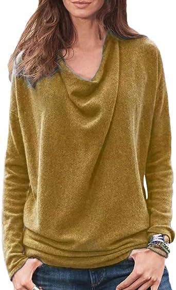 Minetom Mujer Moda Color Sólido Manga Larga Camisa Tops Primavera Casual Suelto Shirt Blusa Camiseta Talla Grande: Amazon.es: Ropa y accesorios