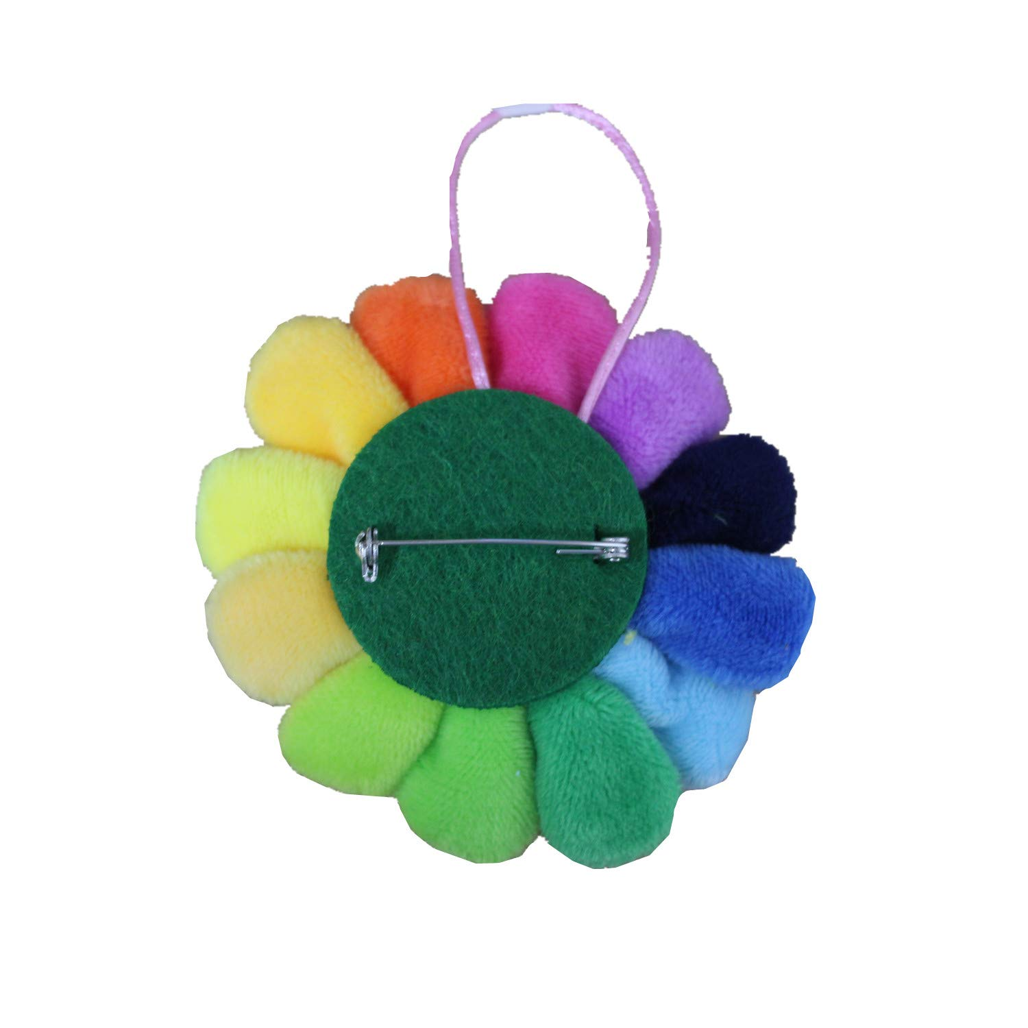 HAN SHENG 6 Pcs Cute Smile Face Rainbow Sunflowers Keychain Brooch Pin Bags Hanging Decration Great for Decoration Backpacks Lanyards Jeans Jackets