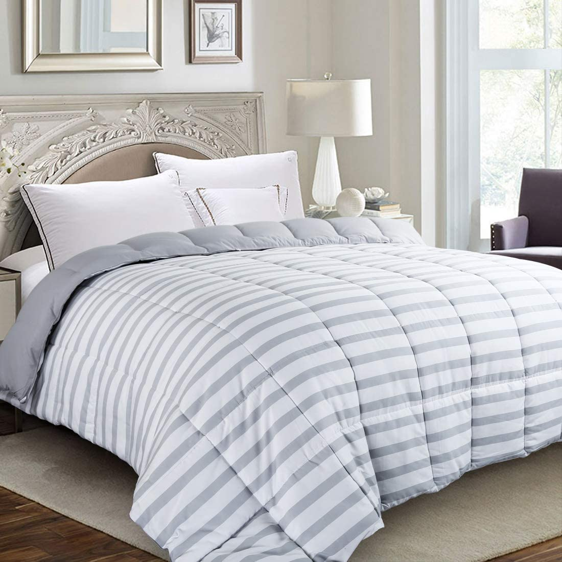 EDILLY All Season Luxury Down Alternative Quilted Queen Comforter-Stand Alone Comforter for Queen Size Bed,Summer Cool Soft Reversible Duvet Insert with 4 Corner Tabs,88''x 88'',Gray White Stripe