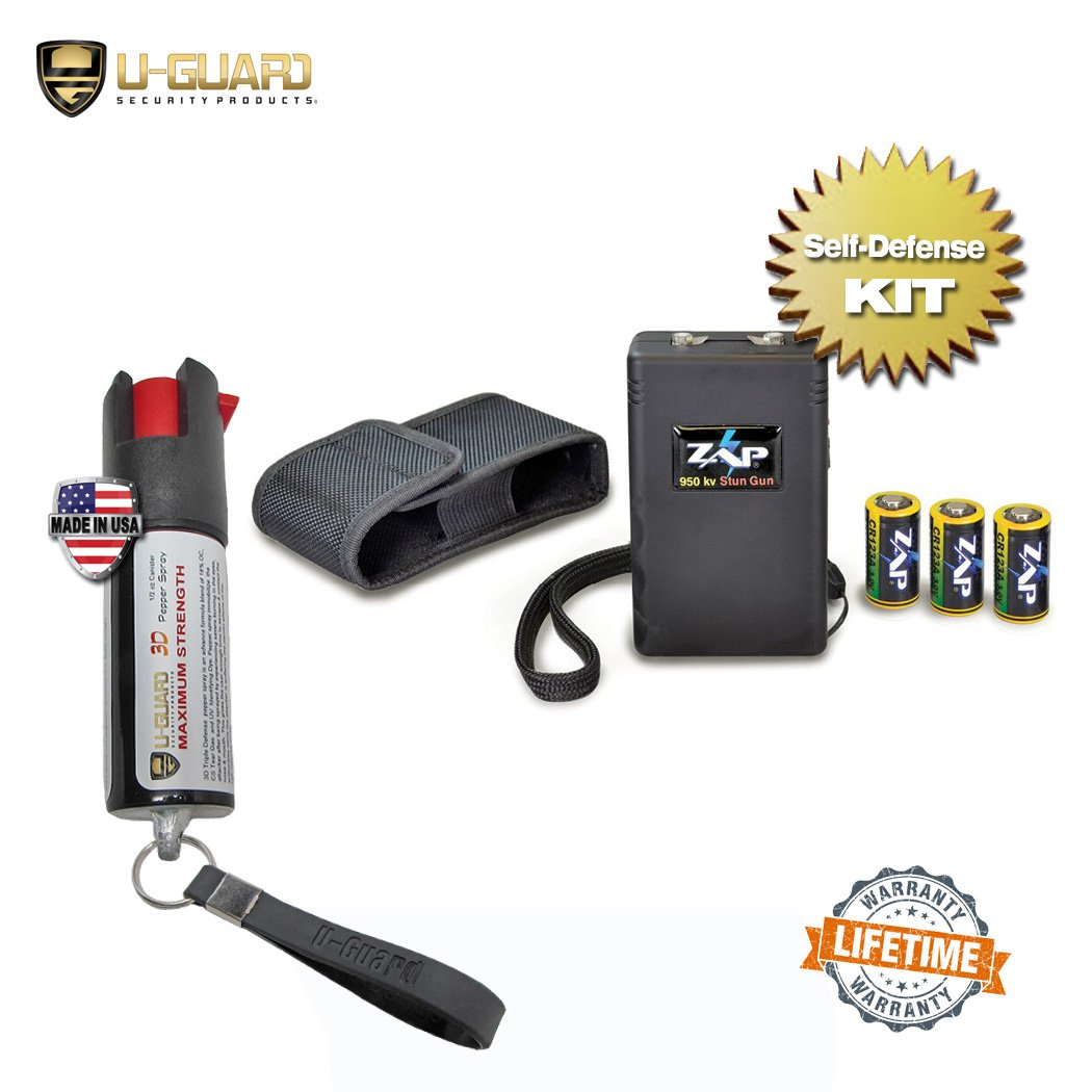 Pepper Spray And Stun Gun For Personal Self Defense. Kit Includes (1) Top Rated Stun Gun And (1) Max Strength Pepper Spray Keychain. US Patent ZAP Stun Taser With Certified Voltage High Amp Stun Gun
