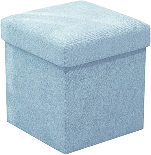 Taburete de almacenamiento Caja de almacenamiento de puf otomana plegable azul claro Sillón de reposapiés plegable Reposapiés de oficina de casa Tejido de lino Cubo de ahorro de espacio versátil Max.: Amazon.es: