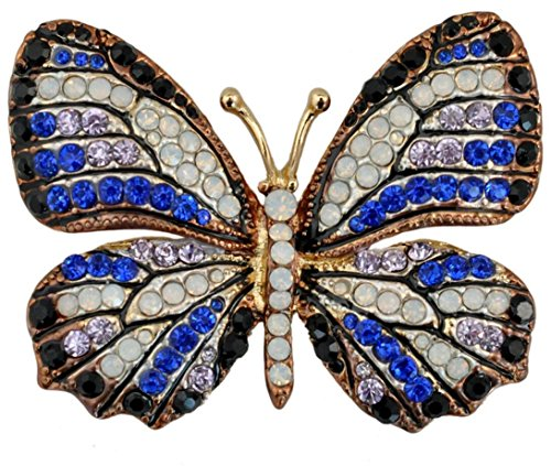 QTMY Colorful Rhinestone Butterfly Brooches Pin (6)