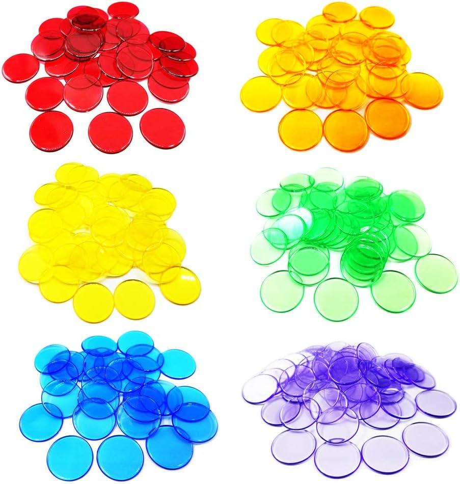 Anyasen 300 Piezas fichas Bingo Count Bingo Chips Marcadores Contador de Color Transparente Marcador de Plástico Chips Bingo para Tarjetas de Juego de Bingo (6 Colores)