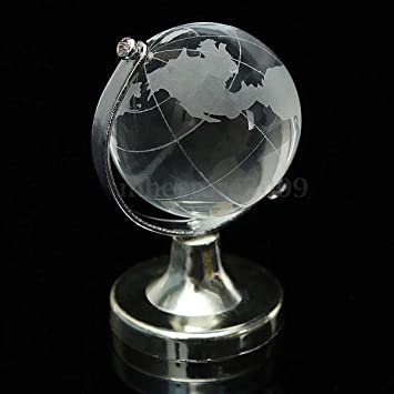 Amazon round earth globe world map crystal glass clear round earth globe world map crystal glass clear paperweight stand desk decor gumiabroncs Image collections