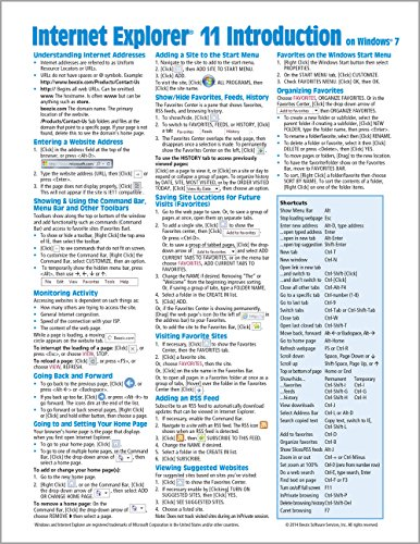 Internet Explorer 11 for Windows 7 Quick Reference Guide (Cheat Sheet of Instructions, Tips & Shortcuts - Laminated Card)