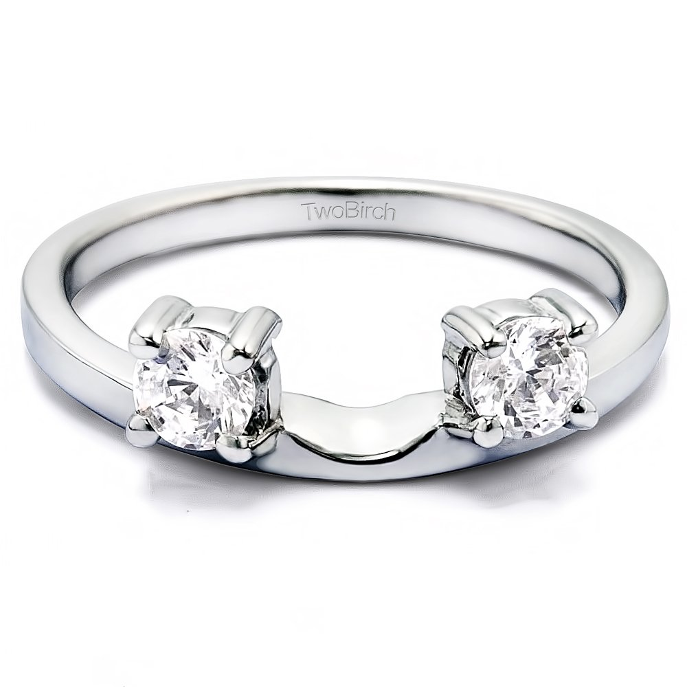 Diamond Three Stone Round Prong Set Ring Wrap in 10K Gold GH I2I3(0.5Ct) Size 3 To 15 in 1/4 Size Interval by TwoBirch