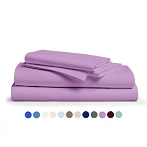 Comfy Sheets 100% Egyptian Cotton Sheets - 1000 Thread Count 4 Pc Queen Lilac/Lavender Bed Sheet with Pillowcases, Premium Hotel Quality Fits Mattress Up to 18'' Deep Pocket.