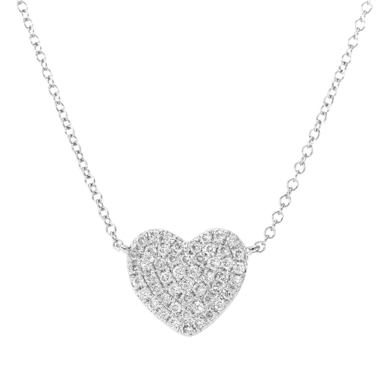 Naava Women\'s 0.15 ct Pave Set Diamond Heart Pendant 9 ct White ...
