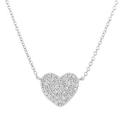 Naava womens 015 ct pave set diamond heart pendant 9 ct white gold naava womens 015 ct pave set diamond heart pendant 9 ct white gold necklace of length mozeypictures Images