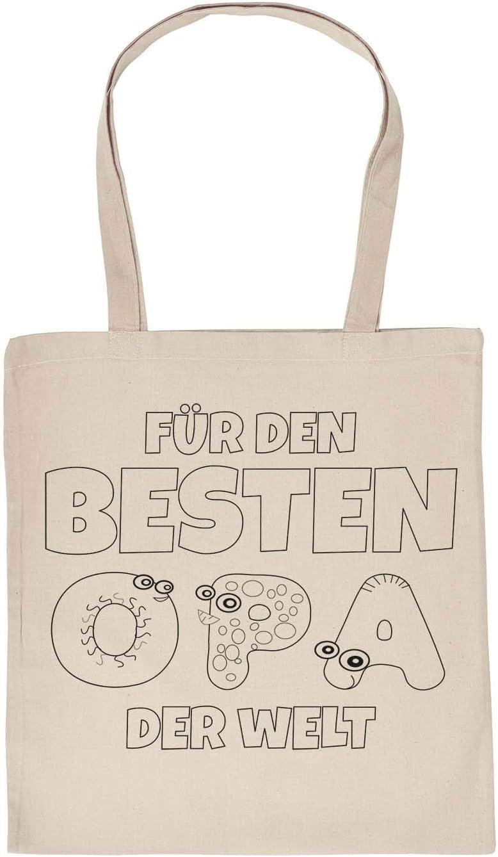 Tasche zum Selberbemalen Stofftasche und 5 St Stifte Set F/ür den besten Opa der Welt Kinder Motiv Ausmalen Stoffmalstifte Kids malen nach Bilder