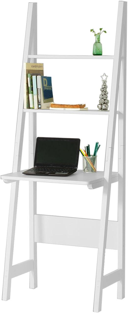 SoBuy® Mesa de Ordenador con Estante Integrado, Estanterias librerias, Estanterias de diseño,Blanco,FRG60-W,ES: Amazon.es: Hogar