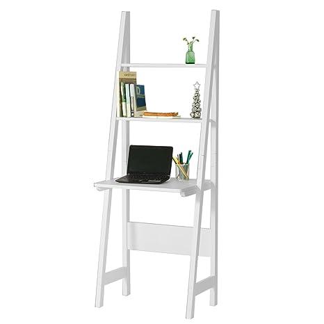 Scrivania Salvaspazio Ikea.Sobuy Moderno Scaffale A Scala Con Scrivania Salvaspazio Colore Bianco Frg60 W It