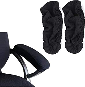 Iseedy Soft Chair Arm Pad Covers Stretch Over Armrests,Removable Durable Washable Office Chair Armrest Slipcovers Covers Pads(2 Pcs/Set) (Black)