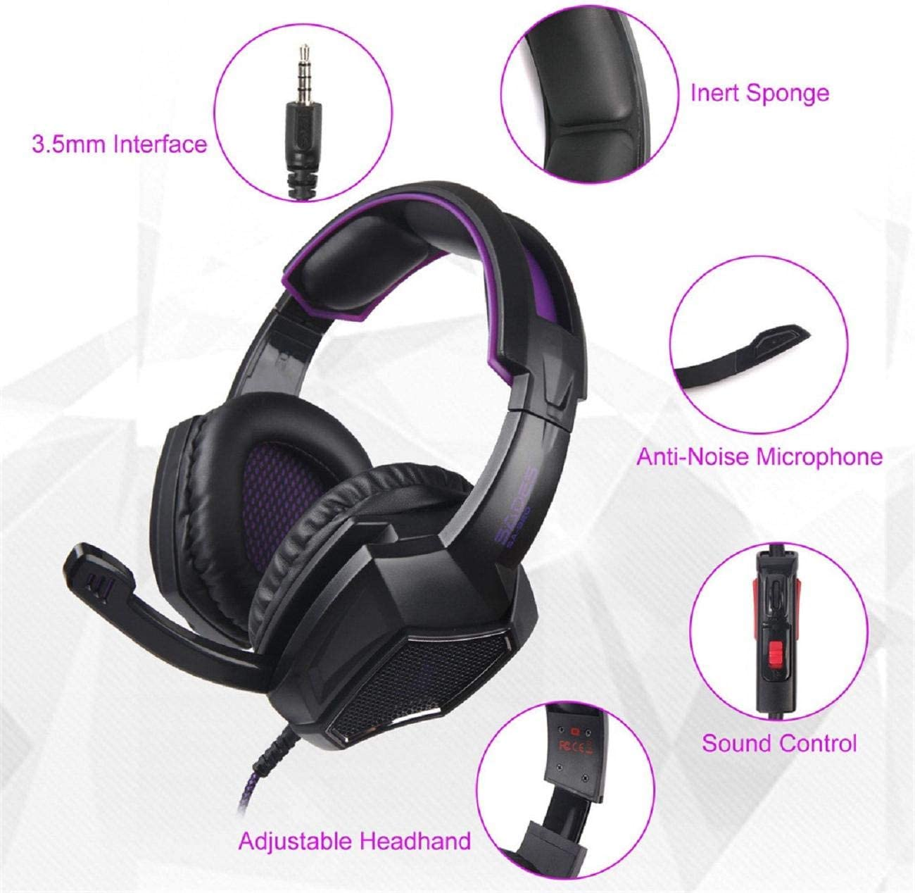 Cinhent On Ear Headphones Lightweight Portable SADES SA921 Plus Wired Gaming 3.5 Headphones with Microphone Noise-Cancelling Earphone Headset for PS4 for Travel Work TV PC Cellphone