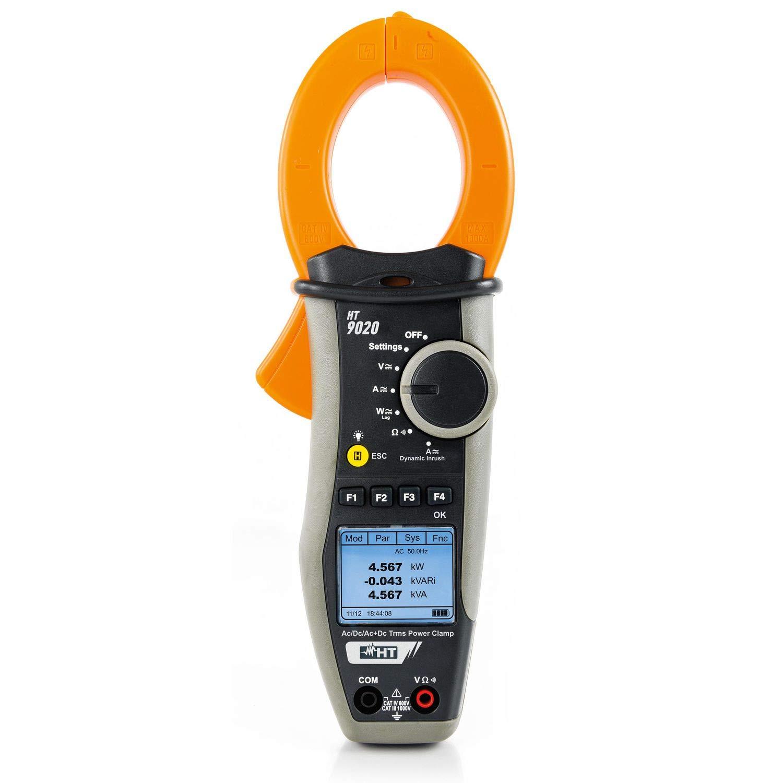 HT9015 Pinza Amperometrica AC//DC TRMS 600A CAT IV Misura Temperatura Display 6000 Punti Misura HP009015