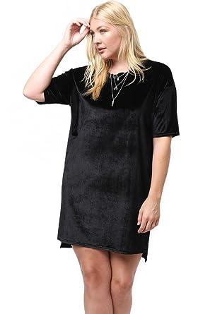 5b9d0395cd1 Modern Kiwi Women's Plus Size Hi-Lo Velvet Tunic T-Shirt Tunic Dress at  Amazon Women's Clothing store: