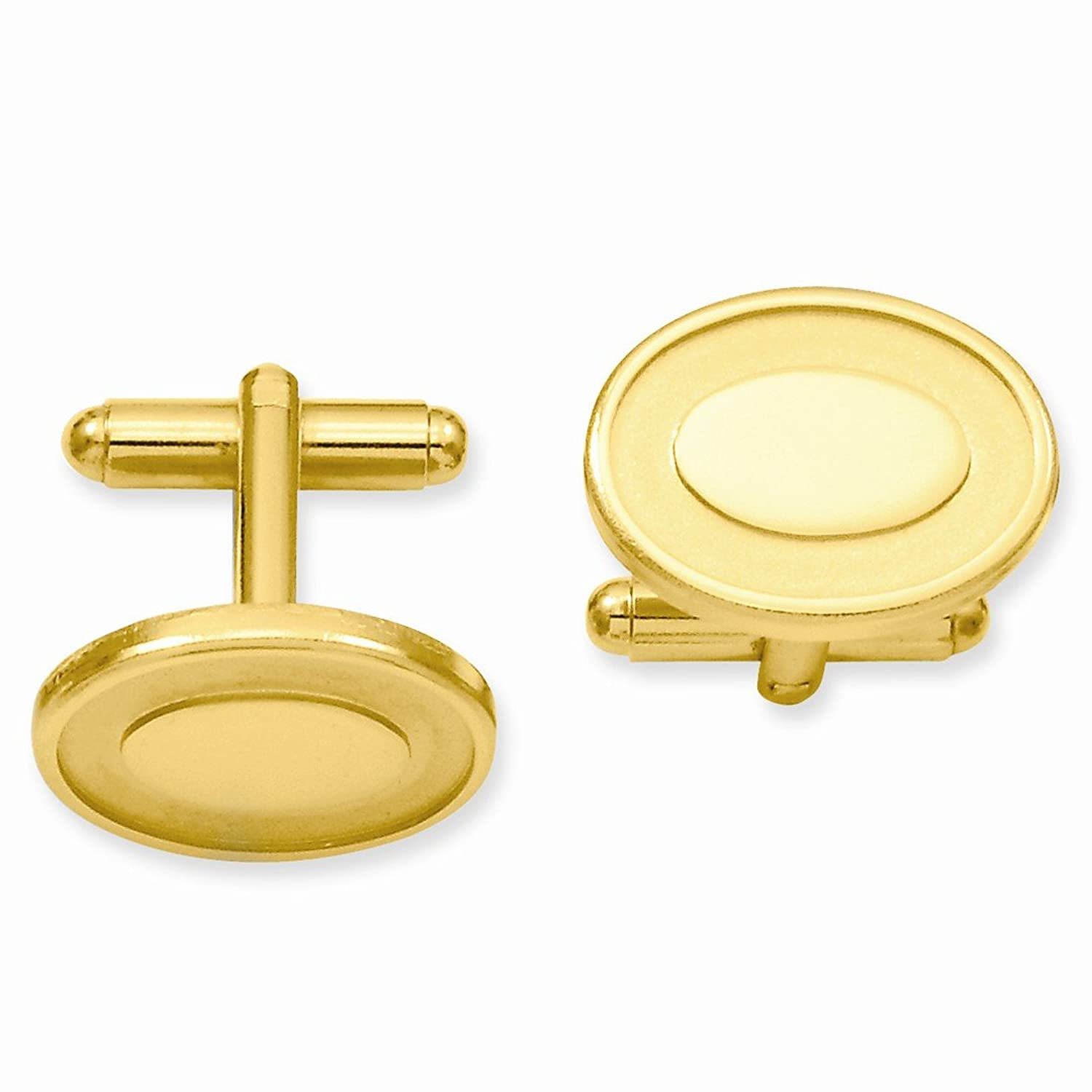 ICE CARATS Gold Plated Kelly Waters Oval Engraveable Area Cuff Links Mens Cufflinks Man Link Water Fashion Jewelry Dad Mens Gift Set