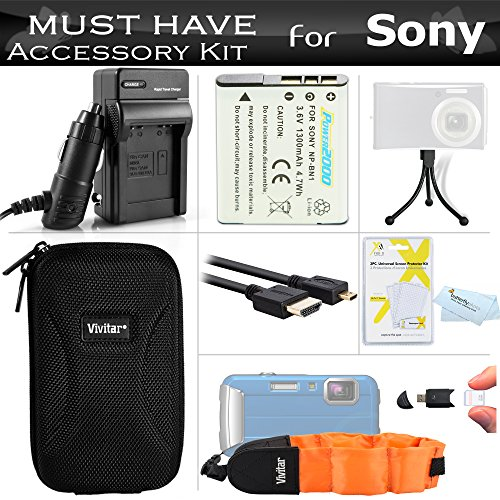 Must Have Accessory Kit For Sony Cyber-shot DSC-TX200V, DSC-TF1, DSC-TX30 Waterproof Digital Camera Includes Replacement NP-BN1 Battery + Ac/Dc Charger + Micro HDMI Cable + Float Strap + Case + More