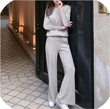 2 pcs Set Women Knit Wide Leg Pants+Sweater Sets Trousers Women Suit Two  Piece Set, Photo Color, XL at Amazon Women's Clothing store
