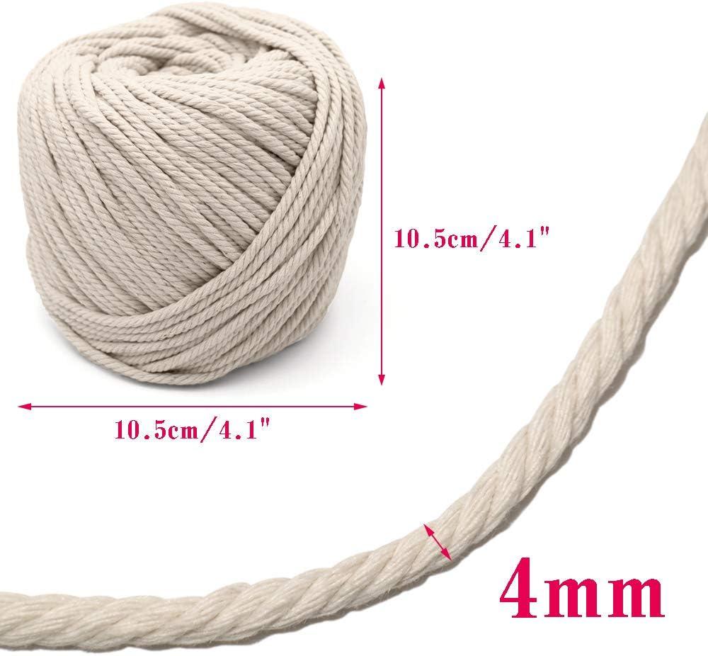 4 mm dick gedrehtes Seil zum Aufh/ängen Naturbaumwolle nat/ürliche Baumwolle 328 Fu/ß Makramee handgefertigt Makramee-Schnur
