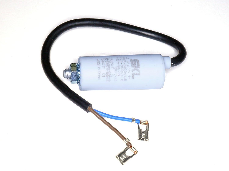 MKP - Motorkondensator 4uF, Kondensator 4,0µ F 400/450VAC mit fest angeschlossenem Anschluß kabel, verwendbar als Betriebskondensator oder Anlaufkondensator (Anlasskondensator), Wickel aus selbstheilender metallisierter Polypropylenfolie im Kun