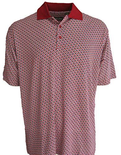 Bobby Chan Men's Silk & Cotton Blend Knit Polo Golf Shirt (Large, Chili)