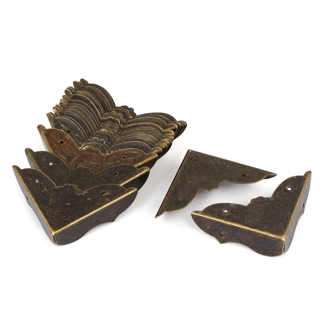 sourcingmap Joyerí a de la caja de regalo cubierta de la esquina del protector de tono de bronce 20pcs 45mmx45mmx13mm a16031400ux0797