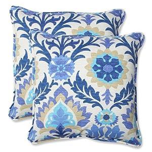 Pillow Perfect Outdoor Santa Maria Throw Pillow, 18.5-Inch, Azure, Set of 2