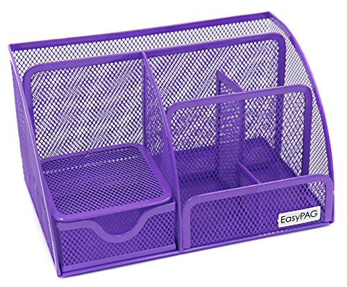 EasyPAG Mesh Desk Organizer Office Accessories Caddy 6 Compartments with Drawer,Purple -