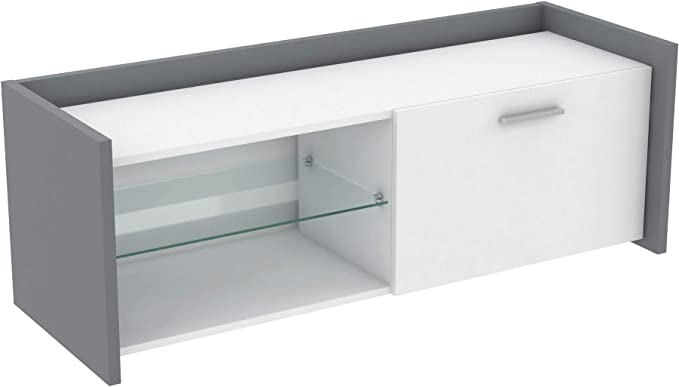 Miroytengo Mesa TV Plum Mueble Television Color Blanco y Gris 1 ...