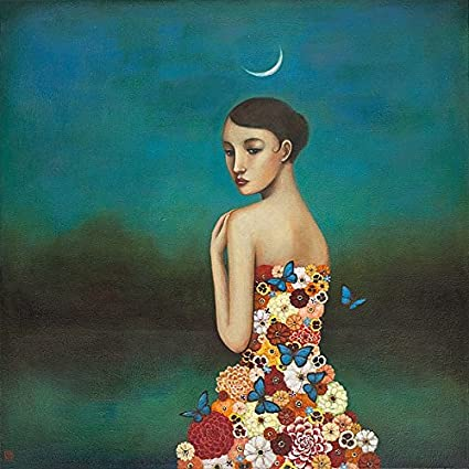 Duy Huynh Reflective Nature Fantasy Romance Flower Moon Print Poster 18x18