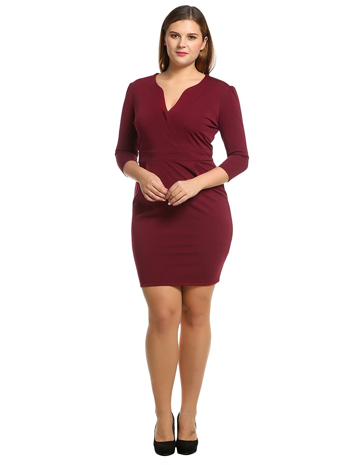 Meaneor Women's Plus Size 3/4 Sleeve V-Neck Retro Bodycon Pencil Dress (L-4XL) *AMH005358