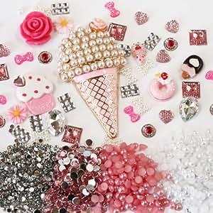 Amazon.com: DIY 3D Bling Cell Phone Case Deco Kit: PINK ICE CREAM and Dessert Rhinstone Gem ...