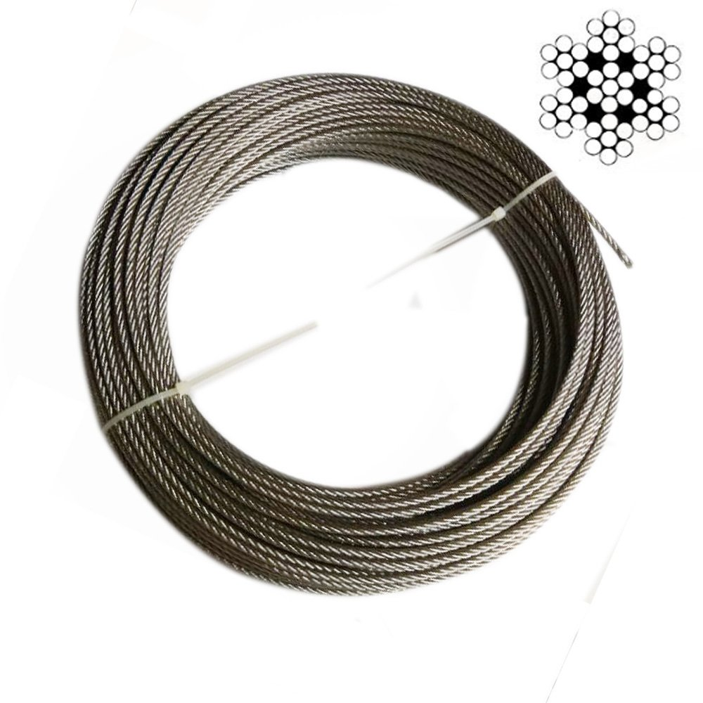 Hetai Wire Rope Stainless Steel Cable Galvanized Steel Cable Stainless Aircraft Steel Wire Rope Cable For Railing,Decking, DIY Balustrade, 1/8Inch,7x7,164Feet